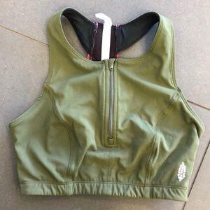 FP MOVEMENT olive green highneck sports bra zipper